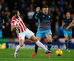 Erik Peters of Stoke City tackles Gary Hooper of Sheffield Wednesday - Capital One Cup Quarter-Final - Stoke City vs Sheffield Wednesday - Britannia Stadium - Stoke - England - 1st December 2015 - Picture Simon Bellis/Sportimage