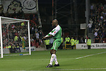 Nottingham Forest 2 Yeovil Town 5, 18/05/2007. City Ground, League One Play Off Semi Final 2nd Leg. Yeovil Town's defender Terrell Forbes celebrating his side's fourth goal during their club's League One play-off semi-final match against Nottingham Forest at the City Ground. Forest had won the first leg by 2 goals to nil at Yeovil the previous week but were defeated by 5 goals to 2 after extra time and missed out on the play-off final at Wembley. Yeovil went on to play Blackpool in the final for the one remaining promotion place to the Championship. Photo by Colin McPherson.