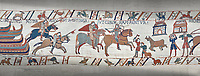 Bayeux Tapestry scene 40:  Norman soldiers ride to Hastings to make camp.