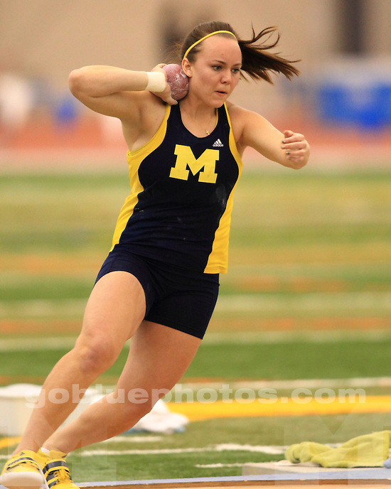 The University of Michigan women's track and field team finished day one in 3rd place at the Big Ten Indoor Championships at the SPIRE Institute in Geneva, Ohio, on February 22, 2012.