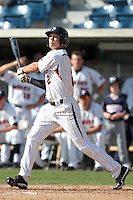 Matt Gelalich (2) of the Pepperdine Waves bats against the Oklahoma Sooners at Eddy D. Field Stadium on February 18, 2012 in Malibu,California. Pepperdine defeated Oklahoma 10-0.(Larry Goren/Four Seam Images)