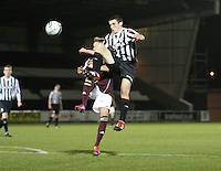 John McGinn gets higher than Jamie Walker in the St Mirren v Heart of Midlothian Clydesdale Bank Scottish Premier League U20 match played at St Mirren Park, Paisley on 6.11.12.