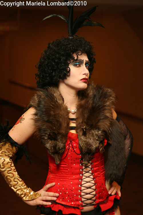 Jen DiMatteo performing the character of Dr. Frankenfurter in the Manhattan cast of The Rocky Horror Picture Show at the Chelsea Clearview Theater in Manhattan.  DiMatteo auditioned and won the lead role in the 35th Anniversary floor show to be held in Los Angeles next week reuniting members of the film's cast and fervent fans from all over the country.