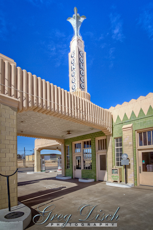 The Tower Station and U-Drop Inn café in Shamrock Texas, is one of the most famous landmarks on Route 66.  It is said that the design was drawn in the dirt, and built in 1936 at cost of $23,000 by J.M. Tindall and R. C. Lewis.  The facility has been restored by the city of Shamrock, and now houses the Chamber of Commerce.