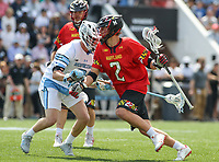 Baltimore, MD - April 28, 2018: Maryland Terrapins Bubba Fairman (2) in action during game between John Hopkins and Maryland at  Homewood Field in Baltimore, MD.  (Photo by Elliott Brown/Media Images International)