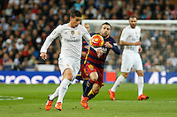 Real Madrid´s James (L) and Barcelona´s Jordi Alba during 2015-16 La Liga match between Real Madrid and Barcelona at Santiago Bernabeu stadium in Madrid, Spain. November 21, 2015. (ALTERPHOTOS/Victor Blanco) /NortePhoto