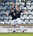 BRIAN GRAHAM SCORES RAITH'S FIRST GOAL WITH  IAIN DAVIDSON.