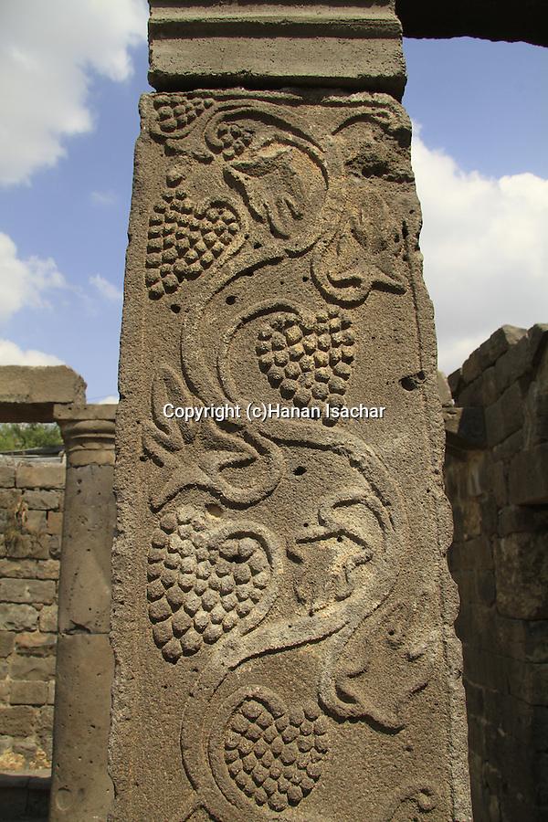 Golan Heights, a decorated column of the Bema at Umm el Kanatir ancient Synagogue