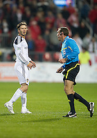 13 April 2011: Los Angeles Galaxy midfielder David Beckham #23 has some words with the referee during an MLS game between Los Angeles Galaxy and the Toronto FC at BMO Field in Toronto, Ontario Canada..The game ended in a 0-0 draw.