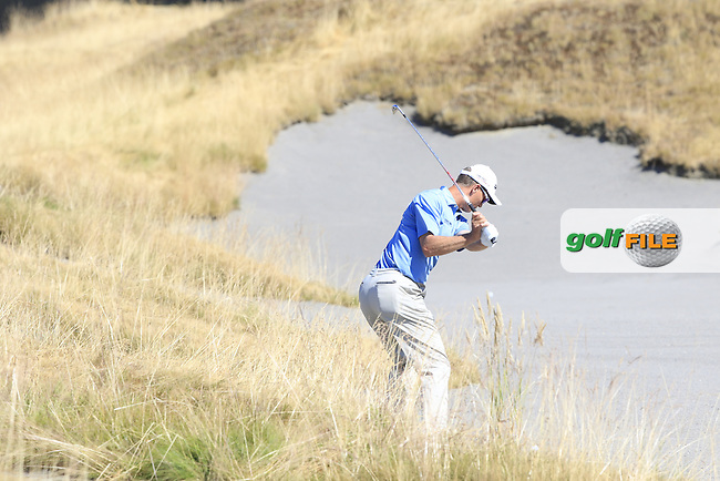 John SENDEN (AUS) plays his 2nd shot from the sand on the 18th hole during Sunday's Final Round of the 2015 U.S. Open 115th National Championship held at Chambers Bay, Seattle, Washington, USA. 6/22/2015.<br /> Picture: Golffile | Eoin Clarke<br /> <br /> <br /> <br /> <br /> All photo usage must carry mandatory copyright credit (&copy; Golffile | Eoin Clarke)