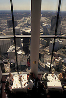 rotating restaurant, aerial view, Atlanta, GA, Georgia, People dining at the top of Westin Peachtree Plaza Hotel Restaurant with a scenic aerial view of downtown Atlanta.