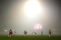 Genral View of match action as fog descends on Highbury Stadium<br /> <br /> Photographer Richard Martin-Roberts/CameraSport<br /> <br /> The EFL Sky Bet League One - Fleetwood Town v Doncaster Rovers - Wednesday 26th December 2018 - Highbury Stadium - Fleetwood<br /> <br /> World Copyright © 2018 CameraSport. All rights reserved. 43 Linden Ave. Countesthorpe. Leicester. England. LE8 5PG - Tel: +44 (0) 116 277 4147 - admin@camerasport.com - www.camerasport.com