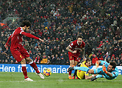 17th March 2018, Anfield, Liverpool, England; EPL Premier League football, Liverpool versus Watford; Mohammed Salah of Liverpool smashes home his fourth goal of the match after 85 minutes after Orestis Karnezis of Watford is only able to parry the shot of Danny Ings