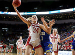 SIOUX FALLS, SD - MARCH 10: Hannah Sjerven of the South Dakota Coyotes grabs a rebound against the South Dakota State Jackrabbits during the women's championship game at the 2020 Summit League Basketball Tournament in Sioux Falls, SD. (Photo by Dave Eggen/Inertia)