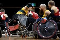 Chris Bond (AUS) vs GB<br /> Australian Wheelchair Rugby Team<br /> 2018 IWRF WheelChair Rugby <br /> World Championship / Semi Finals<br /> Sydney  NSW Australia<br /> Thursday 9th August 2018<br /> © Sport the library / Jeff Crow / APC