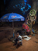 Tuk Tuk repair shop at night Siem Reap, Cambodia