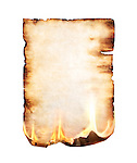Burning blank piece of yellowish stained parchment isolated on white background