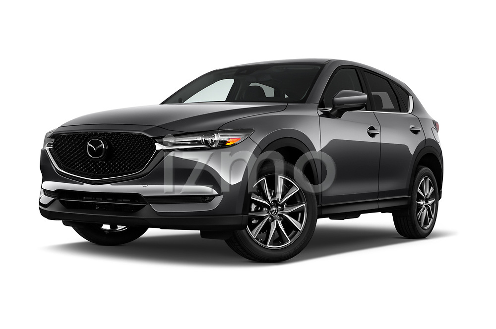 Stock pictures of low aggressive front three quarter view of 2018 Mazda CX-5 Grand-Touring 5 Door SUV Low Aggressive