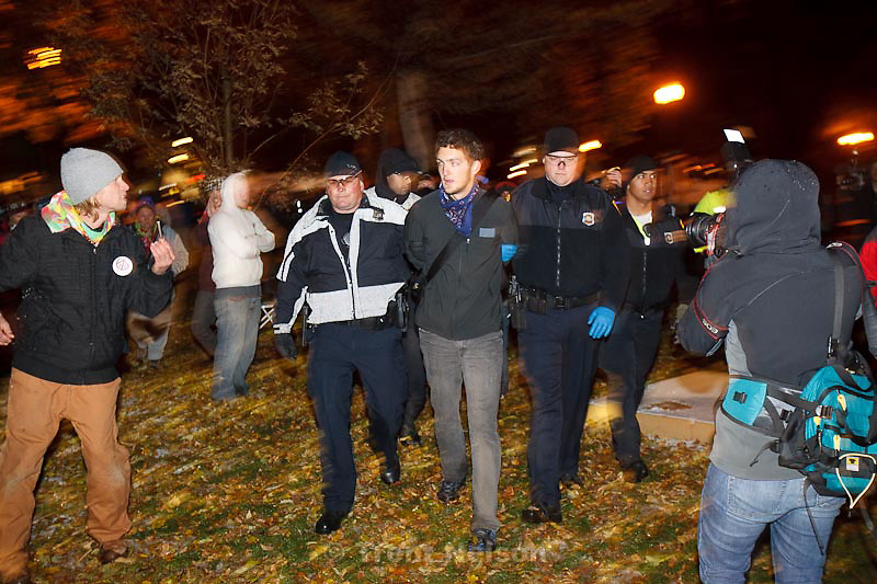 Trent Nelson  |  The Salt Lake Tribune.Salt Lake City police cleared the Occupy Salt Lake tent city from Pioneer Park in Salt Lake City, Utah, Saturday, November 12, 2011. activist arrested
