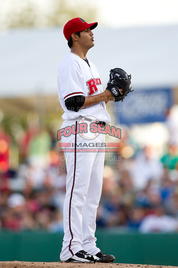 Martin Perez (45) of the Frisco RoughRiders on the mound during a game against the North All-Stars 2011 in the Texas League All-Star game at Nelson Wolff Stadium on June 29, 2011 in San Antonio, Texas. (David Welker / Four Seam Images)..