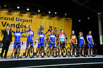 Quick-Step Floors on stage at the Team Presentations for the 105th Tour de France 2018 held on Napoleon Square in La Roche-sur-Yon, France. 5th July 2018. <br /> Picture: ASO/Bruno Bade | Cyclefile<br /> All photos usage must carry mandatory copyright credit (&copy; Cyclefile | ASO/Bruno Bade)