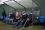 Whitehill Welfare 3 Gala Fairydean Rovers 0, 12/03/2016. Ferguson Park, Rosewell, Scottish Lowland League. Home supporters watching the action at Ferguson Park, Rosewell, as Whitehill Welfare take on Gala Fairydean Rovers in a Scottish Lowland League fixture, which the home team won 3-0. The match was one of six arranged by the league and GroundhopUK over the weekend to accommodate groundhoppers, fans who attempt to visit as many football venues as possible. Around 100 fans in two coaches from England participated in the 2016 Lowland League Groundhop and they were joined by other individuals from across the UK which helped boost crowds at the six featured matches. Photo by Colin McPherson.