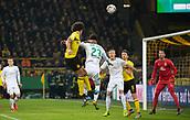 February 5th 2019, Dortmund, Germany, German DFB Cup round of 16, Borussia Dortmund versus SV Werder Bremen;  Dortmund's Axel Witsel (left) and Theodor Gebre Selassie from Bremen challenge for the header in the box
