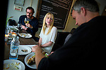 John Pontrelli, left, and April Bowlby watch waiter Lucas Banks prepare a trout dish at Cakes & Ale, photographed for Choice Tables on Friday, April 22, 2011 in Decatur. GA.  (Rich Addicks/Photographer) 10110950A