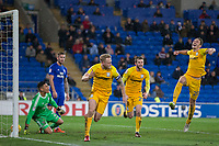 Tom Clarke of Preston North End celebrates scoring his side's winning goal during the Sky Bet Championship match between Cardiff City and Preston North End at the Cardiff City Stadium, Cardiff, Wales on 29 December 2017. Photo by Mark  Hawkins / PRiME Media Images.
