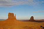 West Mitten Butte and East Mitten Butte (The Mittens) at Monument Valley.