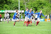 VOETBAL: SURHUISTERVEEN: Sportpark 't Ketting, 12-05-2012, Zaterdag 2e Klasse I, vv 't Fean '58 - SDS, Eindstand 2-1, Jan Ewoud Douwstra (#4), Ale Lanting (#3), Imani Mchimbwa (#7), Joost Nieuwenhuis (#14) en Edbert Groen (#11) vieren de 2-1, ©foto Martin de Jong