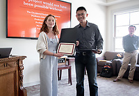 Tessa Sternberg '19<br /> John Chung-En Liu, Assistant Professor, Sociology; Affiliated Faculty, East Asian Studies<br /> Students, faculty and staff gather on Thursday, May 2, 2019 in the JSC Morrison Lounge for the Sociology Senior Comps presentations, awards ceremony, and year-end celebration.<br /> (Photo by Marc Campos, Occidental College Photographer)