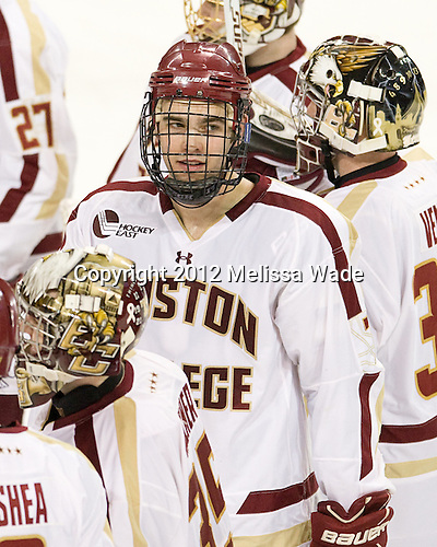 Isaac MacLeod (BC - 7) - The Boston College Eagles defeated the Providence College Friars 7-0 on Saturday, February 25, 2012, at Kelley Rink at Conte Forum in Chestnut Hill, Massachusetts.