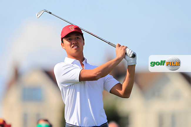 Brandon Wu (USA) on the 2nd tee during Day 1 Singles of the Walker Cup at Royal Liverpool Golf CLub, Hoylake, Cheshire, England. 07/09/2019.<br /> Picture: Thos Caffrey / Golffile.ie<br /> <br /> All photo usage must carry mandatory copyright credit (© Golffile | Thos Caffrey)