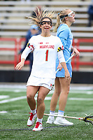 College Park, MD - February 24, 2019: Maryland Terrapins attack Brindi Griffin (1) celebrates after scoring a goal during the game between North Carolina and Maryland at  Capital One Field at Maryland Stadium in College Park, MD.  (Photo by Elliott Brown/Media Images International)