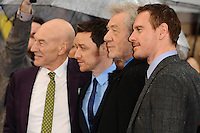 "Sir Patrick Stewart, James McAvoy, Sir Ian McKellan and Michael Fassbender arriving for the ""X-Men: Days of Future Past"" UK premiere at the Odeon Leicester Square, London. 12/05/2014 Picture by: Steve Vas / Featureflash"