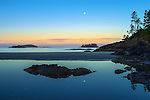 Vancouver Island, British Columbia:<br /> Moon reflecting in a tidepool of MacKenzie Beach near Tofino