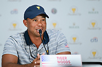 Tiger Woods (USA) speaks during round 1 player selection for the 2017 President's Cup, Liberty National Golf Club, Jersey City, New Jersey, USA. 9/27/2017.<br /> Picture: Golffile | Ken Murray<br /> <br /> <br /> All photo usage must carry mandatory copyright credit (&copy; Golffile | Ken Murray)
