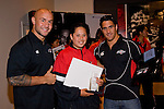 Secondary School Girls  Player of the Year Leana Cvitanovich with DJ Forbes & Chad Tuoro. Counties Manukau Rugby Union Junior representative prize giving held at Growers Stadium on Monday October 20th 2008.