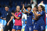 So-Yun Ji of Chelsea Women applauds the home fans at the final whistle along with the rest of the team during Chelsea Women vs Tottenham Hotspur Women, Barclays FA Women's Super League Football at Stamford Bridge on 8th September 2019