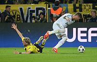 FUSSBALL  CHAMPIONS LEAGUE  HALBFINALE  HINSPIEL  2012/2013      Borussia Dortmund - Real Madrid              24.04.2013 Marcel Schmelzer (Borussia Dortmund) gegen Sergio Ramos (re, Real Madrid)