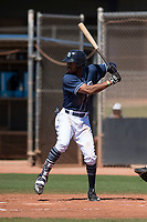 San Diego Padres left fielder Buddy Reed (56) at bat during an Extended Spring Training game against the Colorado Rockies at Peoria Sports Complex on March 30, 2018 in Peoria, Arizona. (Zachary Lucy/Four Seam Images)