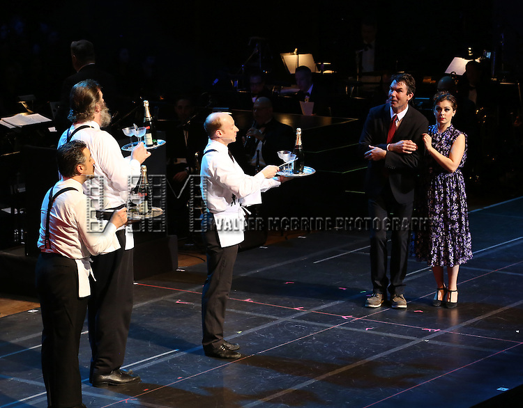 """Jerry O'Connell and Rachel Bloom with cast during the Manhattan Concert Productions 25th Anniversary concert performance of """"Crazy for You"""" at David Geffen Hall, Lincoln Center on February 19, 2017 in New York City."""