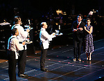 "Jerry O'Connell and Rachel Bloom with cast during the Manhattan Concert Productions 25th Anniversary concert performance of ""Crazy for You"" at David Geffen Hall, Lincoln Center on February 19, 2017 in New York City."