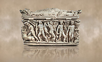 """Roman relief sculpted Hercules sarcophagus with kline couch lid, """"Columned Sarcophagi of Asia Minor"""" style typical of Sidamara, 250-260 AD, Konya Archaeological Museum, Turkey. Against a warm art background."""