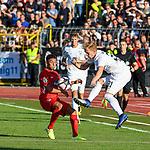 10.08.2019, Donaustadion, Ulm, GER, DFB Pokal, SSV Ulm 1846 Fussball vs 1. FC Heidenheim, <br /> DFL REGULATIONS PROHIBIT ANY USE OF PHOTOGRAPHS AS IMAGE SEQUENCES AND/OR QUASI-VIDEO, <br /> im Bild Zweikampf, Nico Gutjahr (Ulm, #31), Kevin Sessa (Heidenheim, #16)<br /> <br /> Foto © nordphoto / Hafner
