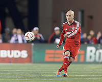 Foxborough, Massachusetts - October 25, 2014: In a Major League Soccer (MLS) match, the New England Revolution (blue/white) defeated Toronto FC (red), 1-0, at Gillette Stadium.