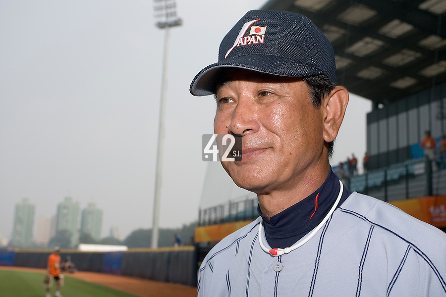 19 August 2007: Team manager Senichi Hoshino listens to journalists after the Japan 4-3 victory over France in the Good Luck Beijing International baseball tournament (olympic test event) at the Wukesong Baseball Field in Beijing, China.