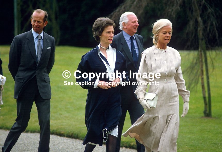 Duchess of Kent, accompanied by the Duke of Kent, escorted by Jim Prior, Secretary of State for N Ireland, and his wife Jane Prior in the grounds of  Hillsborough Castle, N Ireland, during the duchess's April 3 and 4, 1984 visit to the Province. 198404030044m..Copyright Image from Victor Patterson, 54 Dorchester Park, Belfast, UK, BT9 6RJ..Tel: +44 28 9066 1296.Mob: +44 7802 353836.Voicemail +44 20 8816 7153.Skype: victorpattersonbelfast.Email: victorpatterson@me.com.Email: victorpatterson@ireland.com (back-up)..IMPORTANT: If you wish to use this image or any other of my images please go to www.victorpatterson.com and click on the Terms & Conditions. Then contact me by email or phone with the reference number(s) of the image(s) concerned.