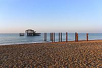 The dilapidated West Pier in Brighton beach, England UK. Saturday 24 February 2018